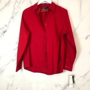 NWT Jones New York Non-iron red button down